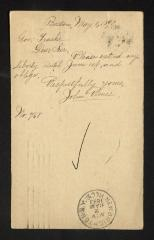 Postcard to Captain Gustavus D. S. Trask, Governor of Sailors' Snug Harbor, from John Rines, May 1, 1893