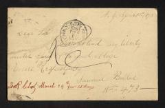 Postcard to Mr. J. [Joseph] K. Clark, Steward, Sailors' Snug Harbor, from Samuel Butler, April 13, 1893