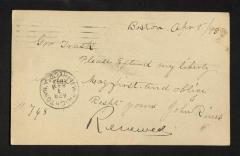 Postcard to Captain Gustavus D. S. Trask, Governor of Sailors' Snug Harbor, from John Rines, April 1, 1893
