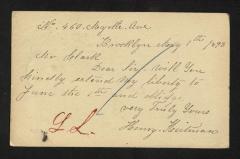 Postcard to Mr. J. [Joseph] K. Clark, Steward, Sailors' Snug Harbor, from Henry Heitman, May 1, 1893