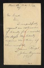 Postcard to Captain Gustavus D. S. Trask, Governor of Sailors' Snug Harbor, from John Beganson, May 6, 1893