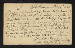 Postcard to Mr. Jo. [Joseph K. Clark], Steward, Sailors' Snug Harbor, from C. [Charles] Seeley, May 1, 1893