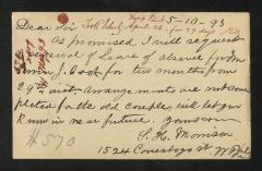 Postcard to Captain Gustavus D. S. Trask, Governor of Sailors' Snug Harbor, from P. H. Morrison, May 10, 1893