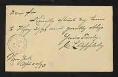 Postcard to Captain Gustavus D. S. Trask, Governor of Sailors' Snug Harbor, from C. [Charles] S. Appleby, April 20, 1893