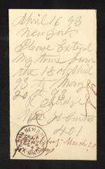 Postcard to Mr. J. [Joseph] K. Clark, Steward, Sailors' Snug Harbor, from Wm. [William] H. Curtis, April 16, 1893