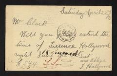 Postcard to Mr. [Joseph K.] Clark, Steward, Sailors' Snug Harbor, from Terrence Hollywood, April 22, 1893