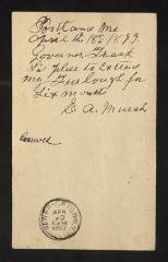 Postcard to Captain Gustavus D. S. Trask, Governor of Sailors' Snug Harbor, from E. [Ephraim] A. Murch, April 18, 1893
