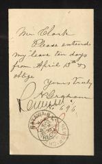 Postcard to Mr. J. [Joseph] K. Clark, Steward, Sailors' Snug Harbor, from N. [Newel] Graham, April 13, 1893