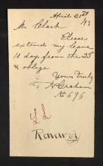 Postcard to Mr. J. [Joseph] K. Clark, Steward, Sailors' Snug Harbor, from N. [Newel] Graham, April 21, 1893