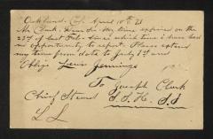 Postcard to Mr. Joseph K. Clark, Steward, Sailors' Snug Harbor, from Lewis [J.] Jennings, April 10, 1893