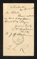 Postcard to Mr. J. [Joseph] K. Clark, Steward, Sailors' Snug Harbor, from N. [Newel] Graham, April 1, 1893