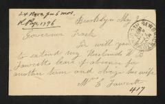 Postcard to Captain Gustavus D. S. Trask, Governor of Sailors' Snug Harbor, from W. E. Fawcett, May 26, 1893