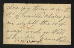 Postcard to Mr. J. [Joseph] K. Clark, Steward, Sailors' Snug Harbor, from James Walsh, April 15, 1893