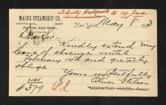 Postcard to Mr. J. [Joseph] K. Clark, Steward, Sailors' Snug Harbor, from Oliver Wilson, May 8, 1893