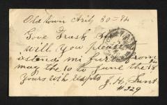 Postcard to Captain Gustavus D. S. Trask, Governor of Sailors' Snug Harbor, from J. [John] H. Lunt, April 30, 1893