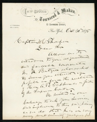 Letter to Captain M. Thompson, Sailors' Snug Harbor, from the Law Office of Townsend & Mahan, October 30, 1875
