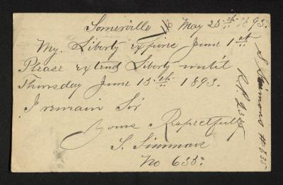 This side of the postal card contains the handwritten letter, written in brown ink.