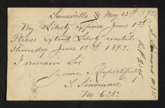 Postcard to Captain Gustavus D. S. Trask, Governor of Sailors' Snug Harbor, from S. [Sylvanus] Simmons, May 23, 1893