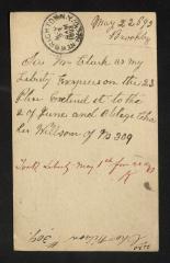 Postcard to Mr. [Joseph K.] Clark, Steward, Sailors' Snug Harbor, from Charles Wilson, May 22, 1893