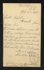 Postcard to Captain Gustavus D. S. Trask, Governor of Sailors' Snug Harbor, from Geo. [George] W. Boyce, May 27, 1893
