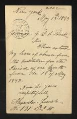 Postcard to Captain Gustavus D. S. Trask, Governor of Sailors' Snug Harbor, from Alexander French, May 13, 1893