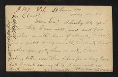Postcard to Mr. [Joseph K.] Clark, Steward, Sailors' Snug Harbor, from Wm. [William] Whittaker, May 10, 1893