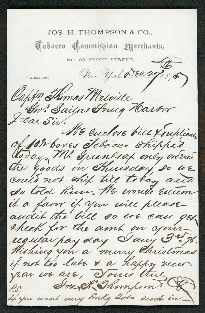 "This letter is handwritten in dark brown ink on cream-colored paper with the header of ""Jos. H. Thompson & Co. Tobacco Commission Merchants."""