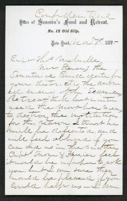 "The letter is on cream-colored paper with the letterhead of the ""Office of Seamen's Fund and Retreat"" and blue lines. The handwriting is in brown ink in a loose script that is difficult to read."