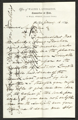 "This letter is handwritten in dark brown ink on cream-colored letterhead paper from the ""Office of Walter L. Livingston, Counsellor at Law."" The last two lines of the letter and signature are written vertically across the paper, over the vertically-oriented main body of the letter."