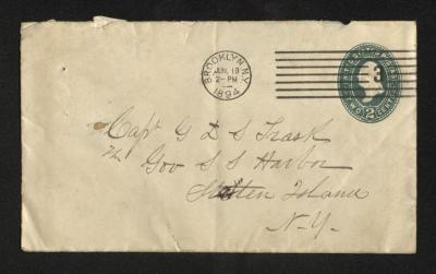 The front of the envelope has the name of the addressee and his address handwritten in brown ink on cream-colored paper, with postal stamps in the upper right corner.