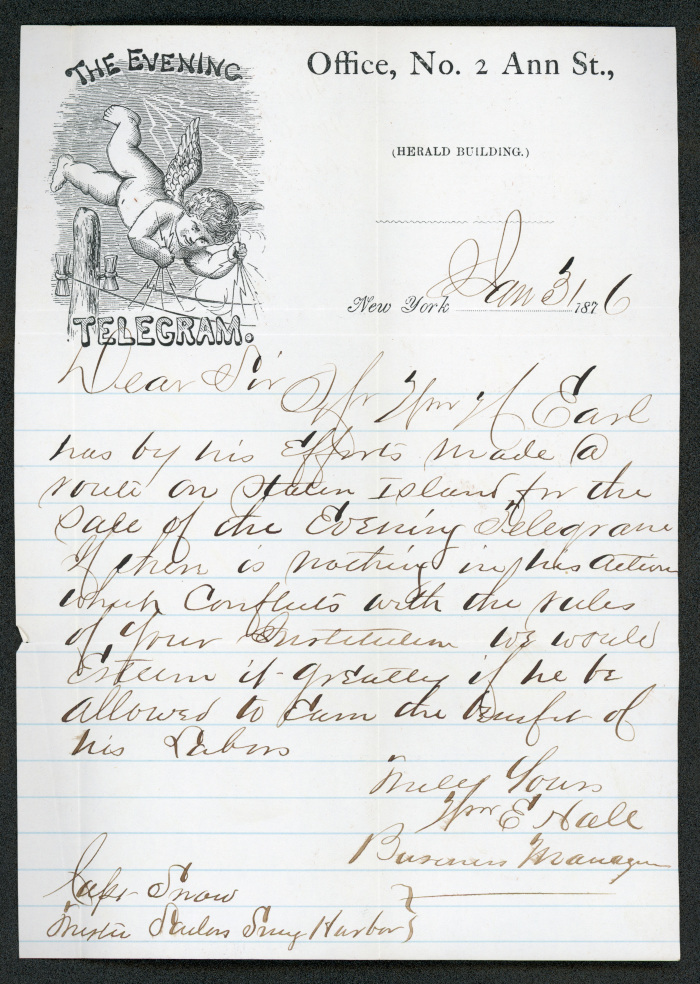 The letter is handwritten in brown ink on cream-colored Evening Telegram letterhead, with pale blue lines below the printed header.