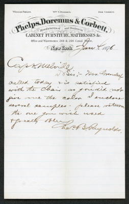 This letter is handwritten with brown ink on Phelps, Doremus & Corbett letterhead, which is on cream-colored paper with blue lines below the header. The sheet has a distinct vertical fold down the length of the paper.