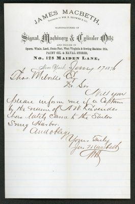 The letter is handwritten in brown ink on James Macbeth, Manufacturer of Signal, Machinery & Cylinder Oils letterhead. There is a prominent vertical fold and the portion of the cream-colored paper under the printed letterhead has light blue printed lines.