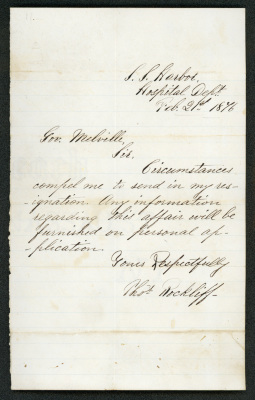 The letter is handwritten in brown ink on cream-colored paper with faint blue lines. In the upper left corner is the embossed image of a bell. The paper has brown staining, particularly where it has been folded.